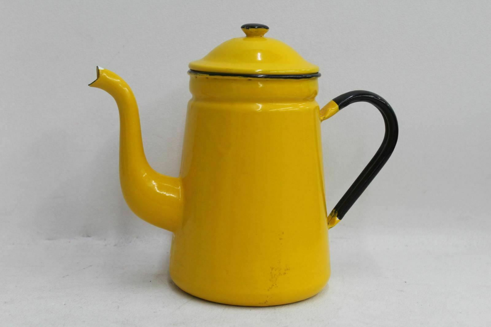 Vintage Bright Yellow & Black Hand Painted Metal Teapot Plant Watering Can