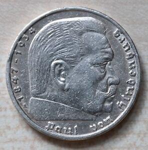 5 Reichsmark Deutsches Reich 1936 A Paul Hindenburg Silber Ebay