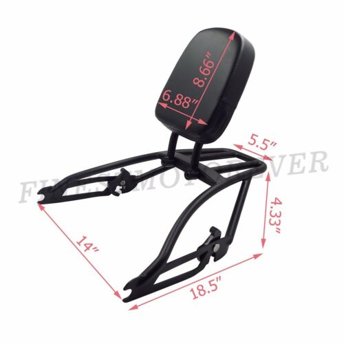 Black Sissy Bar Backrest Two-Up Luggage Rack For Harley Street XG500 XG750 15-17
