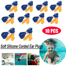 10 Pcs Soft Silicone Corded Ear Plugs Reusable Hearing Protection Earplugs 29 Db