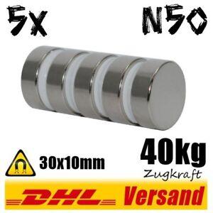 5x-Neodym-Magnete-30x10-mm-D30x10mm-40kg-Kraft-Industrie-Power-Permanentmagnet