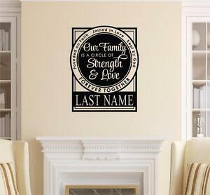 Family A Circle Of Strength And Love Vinyl Decal Wall Sticker Words Lettering