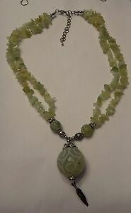 16-18-034-Adjustable-Rhodium-Sterling-Silver-Aventurine-beads-amp-Pendant-Necklace