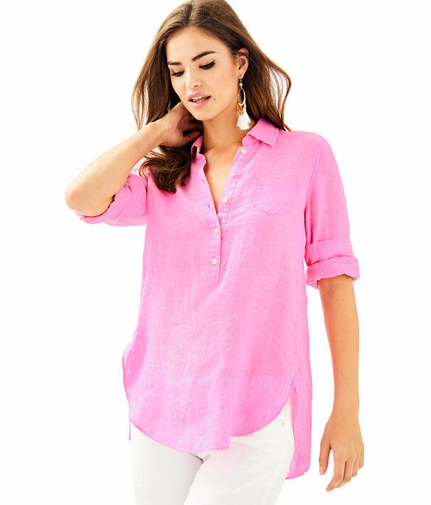 NWT LILLY PULITZER PINK SUNSET DEANNA POPOVER LINEN TUNIC BLOUSE SIZE 12 LARGE