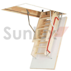 Image Is Loading OPTISTEP WOOD TIMBER FOLDING LOFT LADDER Amp HATCH