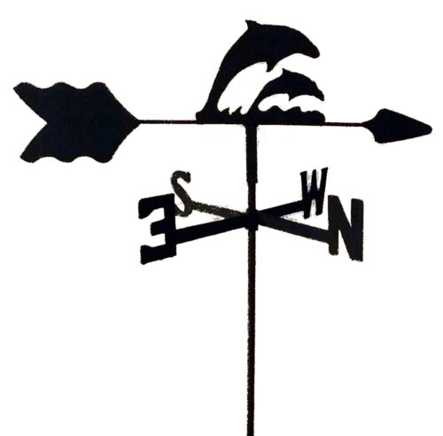 DOLPHIN  GARDEN STYLE WEATHERVANE BLACK WROUGHT IRON LOOK MADE IN USA TLS1014IN