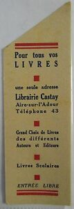 Antique-Brand-Pages-Bookmark-Advertising-Bookstore-Castay-in-Aire-on-L-039-Adour