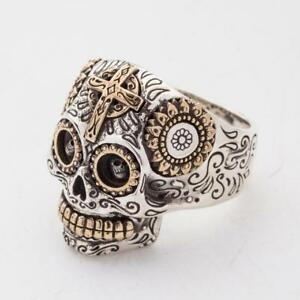 SUGAR-SKULL-CROSS-SOLID-925-STERLING-SILVER-MEN-039-S-RING-BIKER-ROCK-NEW-MEXICAN