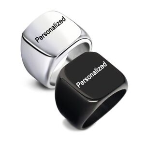 Fashion-DIY-Personalized-Stainless-Steel-Custom-Engraved-Men-039-s-Finger-Ring-Band