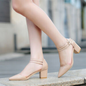 Womens-Ankle-Strap-Block-Heels-Pointed-Toe-Fashion-Pumps-Buckle-Mary-Jane-Shoes