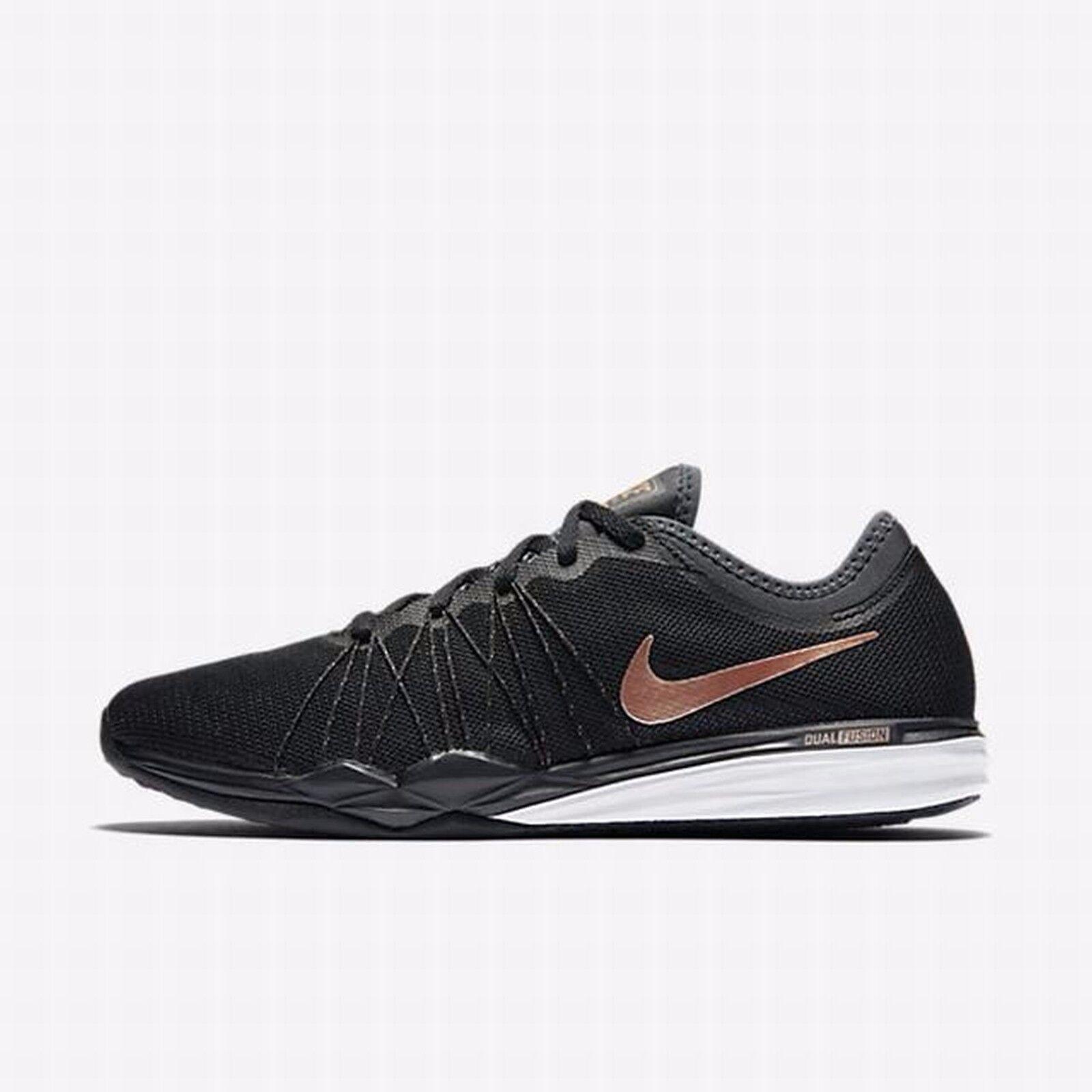 Nike Dual Fusion TR Black/Anthracite/White/Mtlc Red Bronze 844674-004 Wmn Sz 11