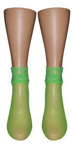 Neon Green Lace Cuff Fishnet Anklet Ankle High Pop Socks Girls Women One Size