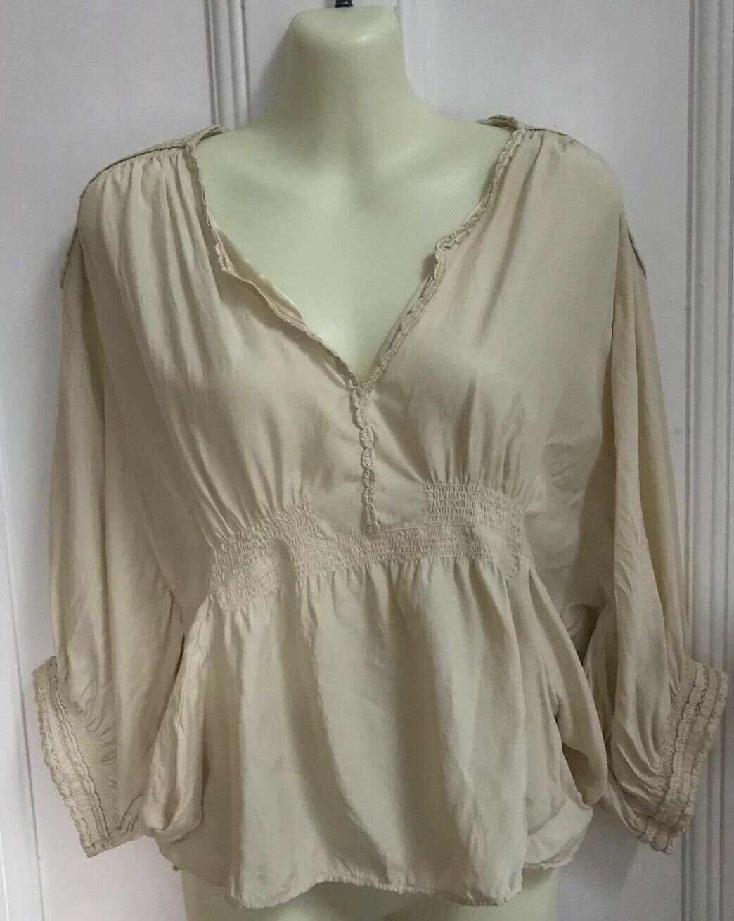 Isabel Marant Etoile Ivory Silk Blouse Top Embroidery Shoulders Size 2 AU 10
