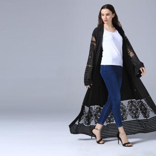 Abaya Dubai Muslim Lace Women Open Front Cardigan Embroidery Islamic Maxi Dress