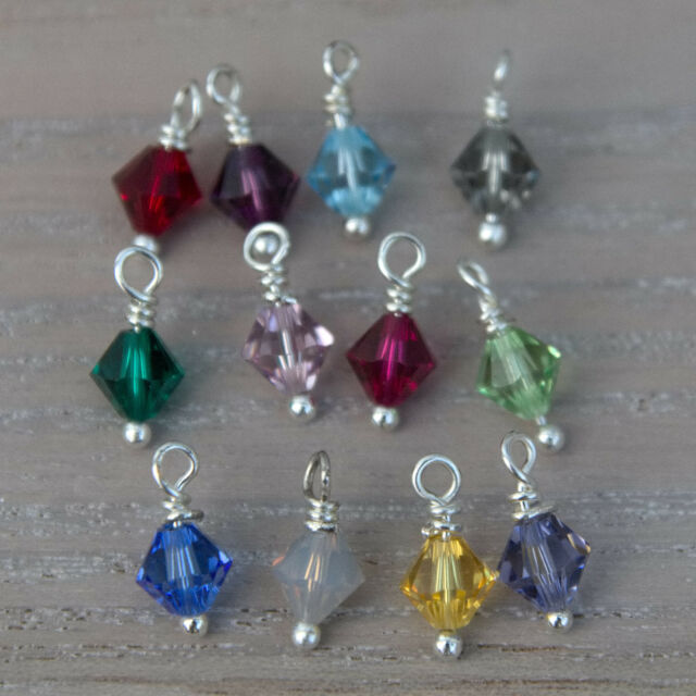 Sterling silver charm with Swarovski elements bead ** Birthstone Choice **