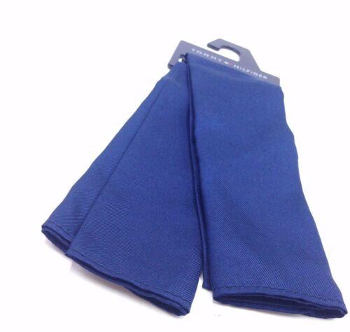 $125 Tommy Hilfiger Mens Solid Blue Silk Handkerchief Classic Pocket Square