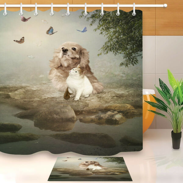 72 Dog And Cat River Bank Tree Butterfly Shower Curtain Hooks Waterproof Fabric