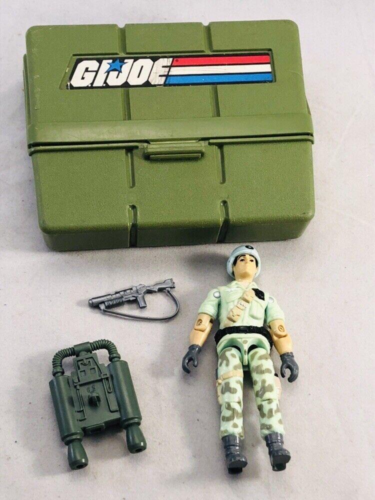 Vintage 1987 Gi Joe estrelladuster cifra w Helmet, Gun, Backpack, Case