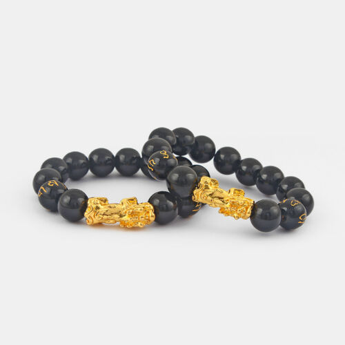 Lucky Golden Chinese Dragon Pixiu Brave Troops Bracelets W// Black Glass Beads
