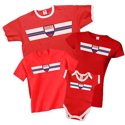 Russia Patriotic Fan Kit Retro Strip T-shirt Football Mens Ladies Kids Baby Verkaufspreis