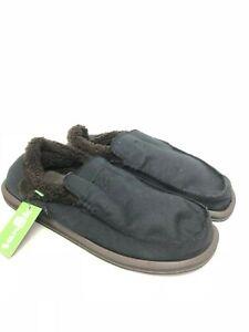 Sanuk-Homme-Chiba-Glacial-Noir-Toile-Marron-Fourrure-Slip-Chaussures-Yoga-Tapis