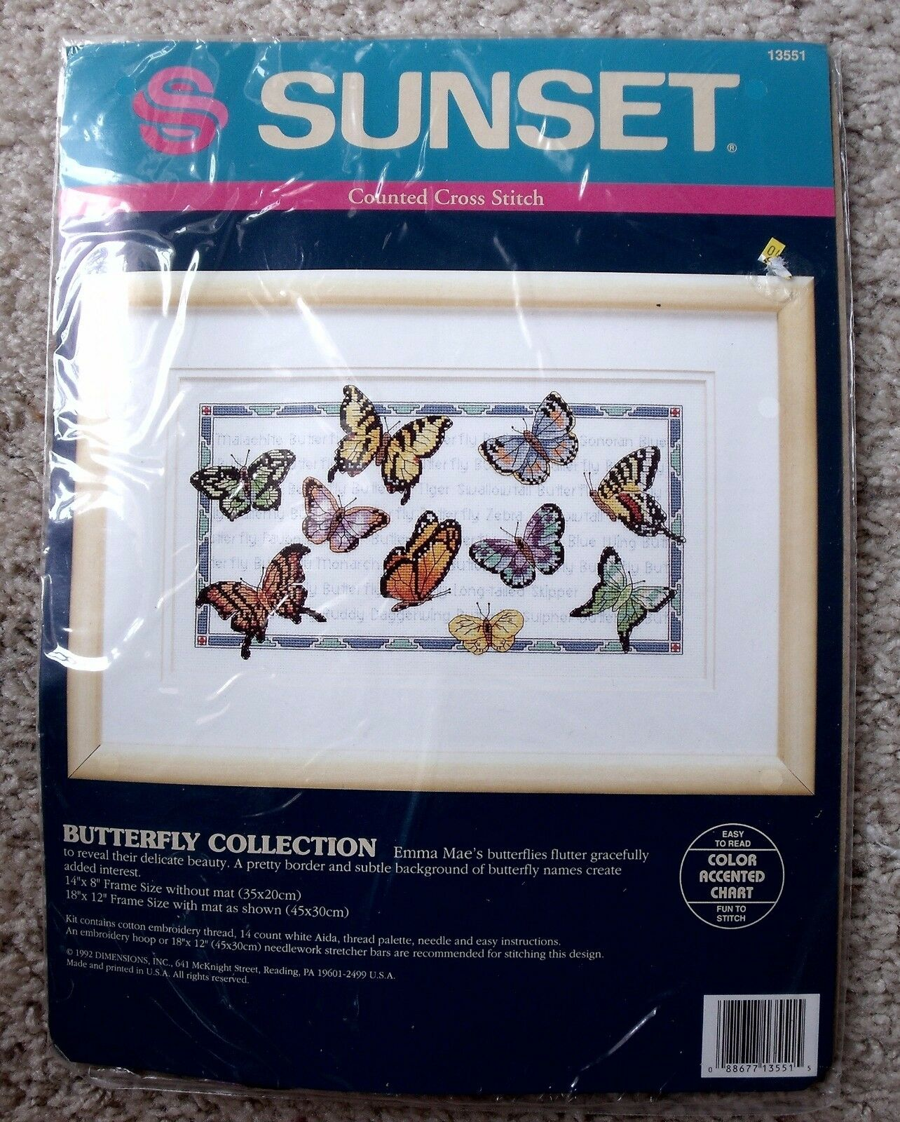 Butterfly Collection Counted Cross Stitch Kit 14x8 Sunset