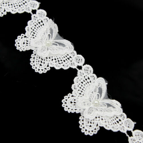 2 Yds Butterfly Pearl Lace Trim Appilique Wedding Bridal Dress Ribbon DIY Sewing