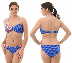 Image Is Loading Bandeau Halterneck Bikini Swimming Costume  FLORAL POLKA Dot