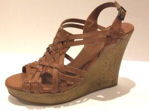 1d75ac651f73 Women s Gianni Bini Leather Brown - Tan Strappy Wedge Heel Sandal ...