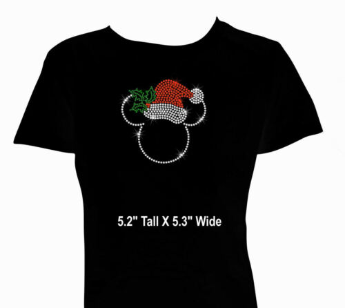 "5.3/"" Christmas Santa clear Minnie Mickey iron on rhinestone transfer your color"