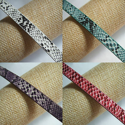 1 Yard Faux Snake Skin Lace 10x2mm Flat PU Leather Cord For Jewelry Making