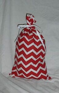 Red and White Chevron Design Homemade Fabric Gift Bag with Attached Ribbon
