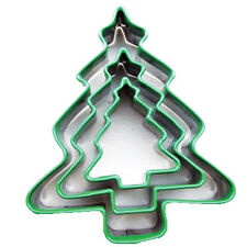 Eddingtons 3 Christmas Tree Cookie Cutters Stainless Steel Silicone Tops Xmas