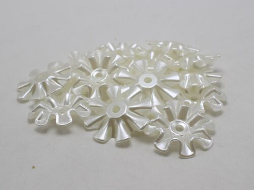 30 Ivory Acrylic Large Pearl Flower Sew On Beads 33mm Center Hole Sewing Craft