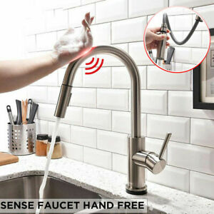 Brushed-Nickel-Smart-Induction-Kitchen-Sink-Faucet-Touch-Swivel-Pull-Out-Tap-New