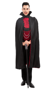 Mens Horror Fancy Dress Up Party Halloween Bloodthirsty Count Vampire Costume