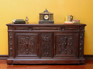 Image Is Loading Antique Italian Renaissance Carved Sideboard Buffet TV  Media