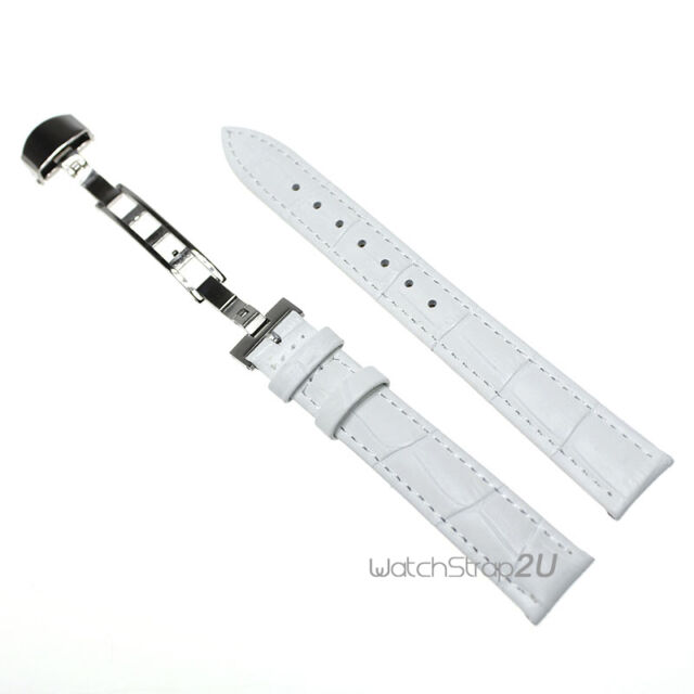 White Alligator Croco Grain Leather Butterfly Deployment Clasp Watch Band Strap