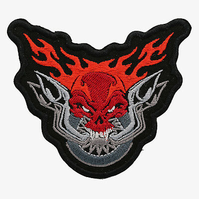 Flaming Skull Embroidered Biker Patch