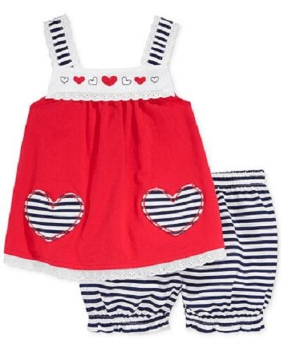 SALE Infant Girl 2 Piece Red Top Blue Striped Hearts and Bloomers Set NWT