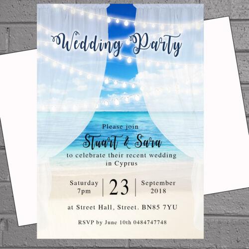 Beach Heart Wedding Abroad Wedding Reception Invitations x 12 H1894