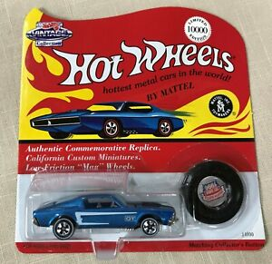 Hot-Wheels-Greater-Seattle-Toy-Show-1996-Blue-Mustang-with-Button-LTD-ED-10-000
