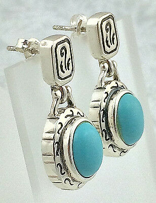 ESTATE .925 Sterling Silver & Turquoise, Decorative Swinging Earrings, Posts
