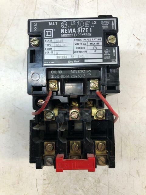 Square D 8536 Size 0 Combo Motor Starter Nema 1 3 Phase