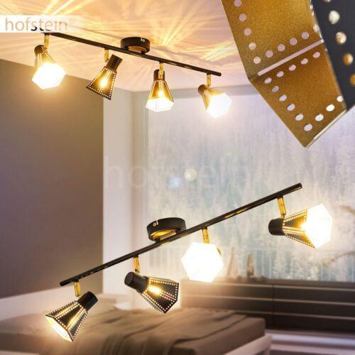 Retro Decken Spot Wohn Schlaf Raum Lampe schwarz-gold Flur Strahler verstellbar