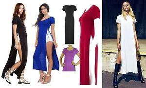 Womens-Side-Slit-Top-Dress-Ladies-Casual-Sexy-Short-Sleeve-Maxi-Long-Split-Plain