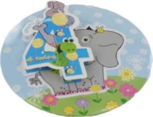 8CM 3D BLUE GLITTER 4TH BIRTHDAY BADGE NEW CHILD BOYS PARTY 4 TODAY ELEPHANT