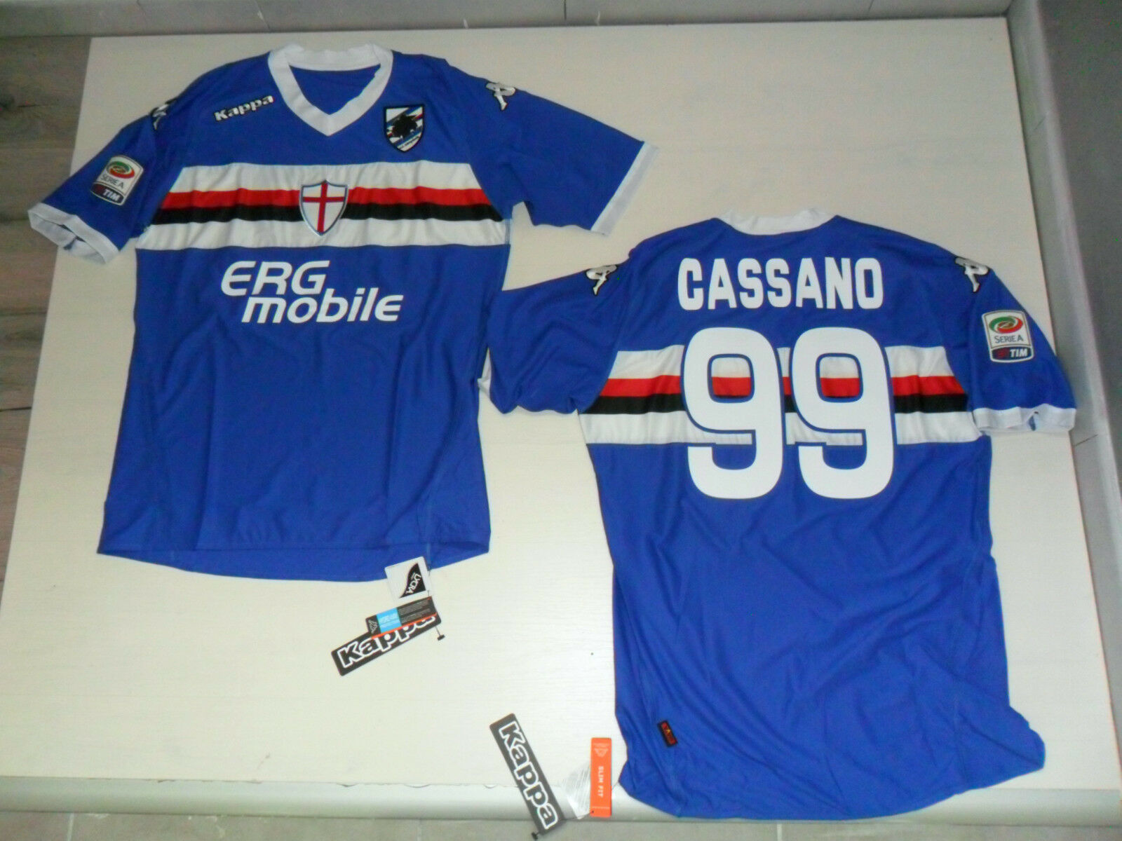 Sampdoria Shirt Race Authentic Erg Mobile Cassano T-Shirt Player Issue Jersey