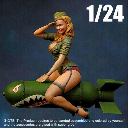 1//24 Resin Kits Female Soldier sitting on torpedo Model Figure GK Unpainted new