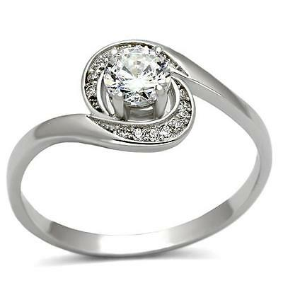 Engagement Ring Sterling Silver Promise Ring 5mm Round Clear CZ Halo 925